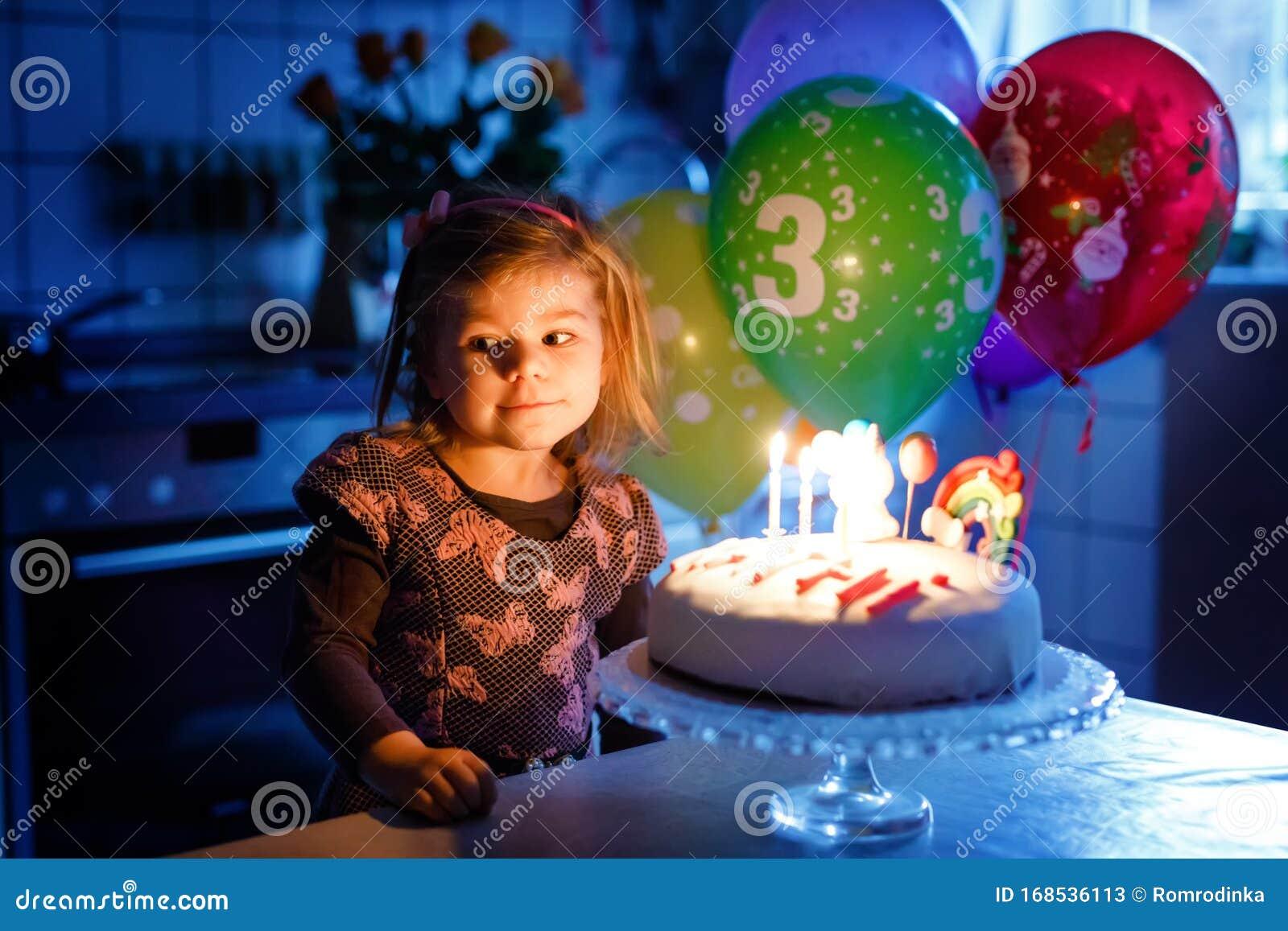 Super Adorable Little Toddler Girl Celebrating Third Birthday Baby Birthday Cards Printable Benkemecafe Filternl
