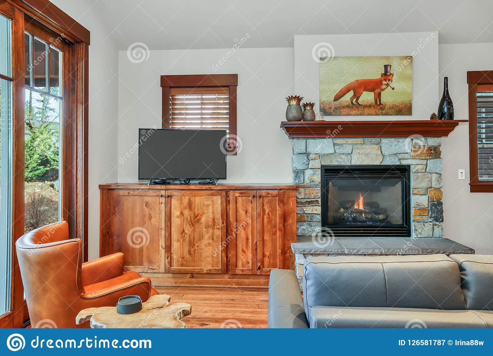 Adorable Living Room Interior With Stone Fireplace Stock Image