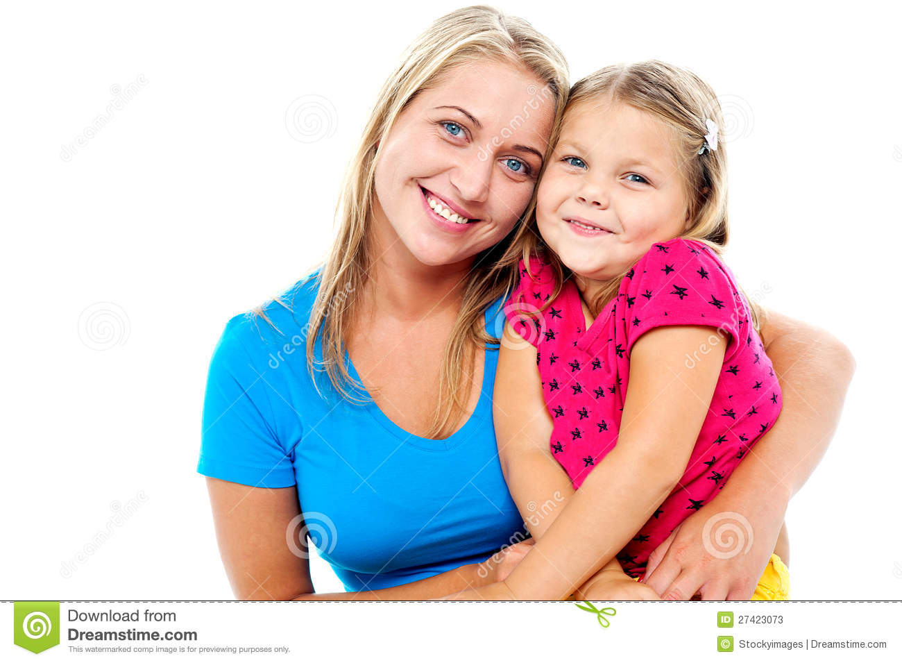 Adorable Mom And Daughter Posing Together Stock S Image