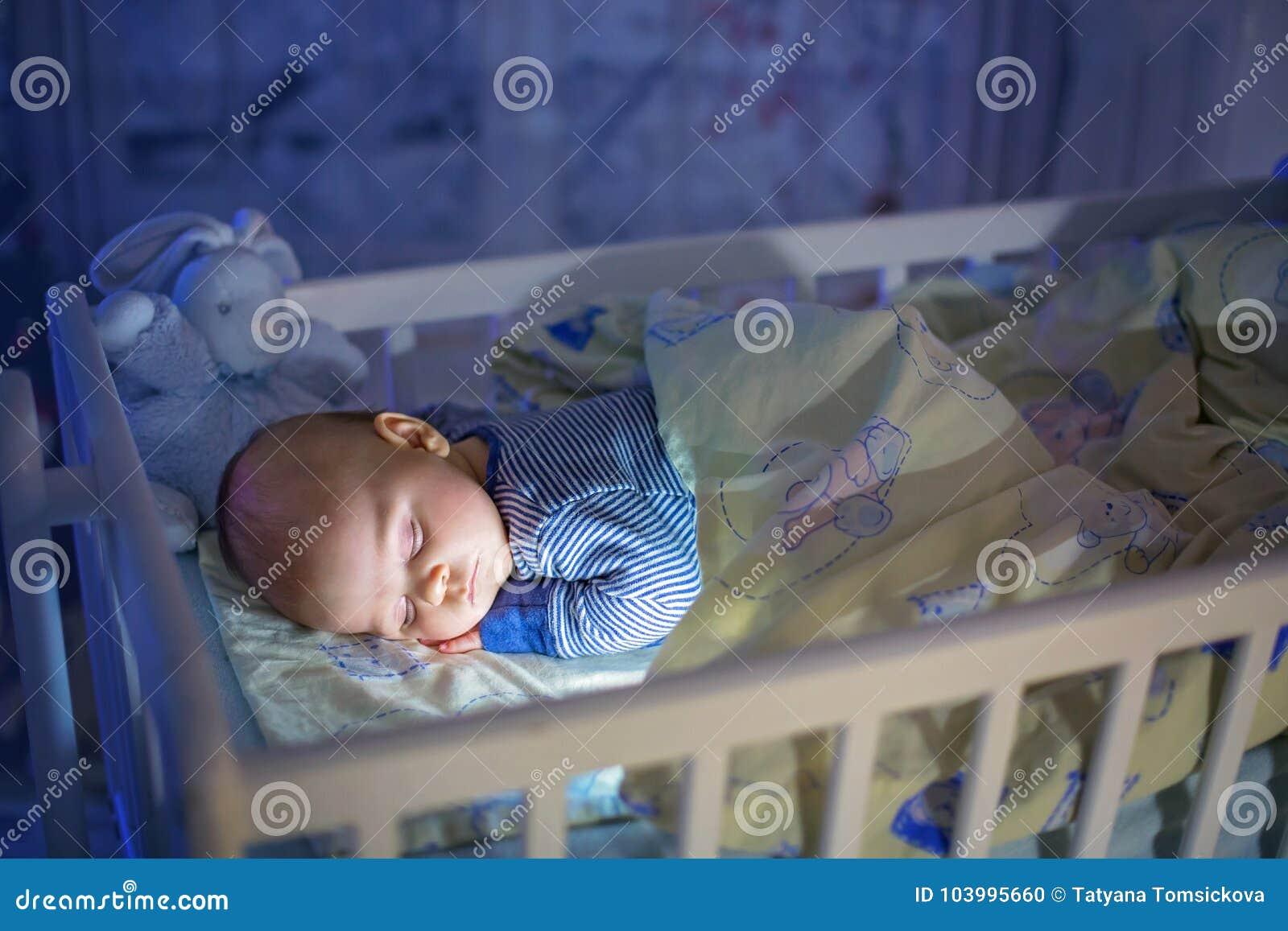 Newborn Baby Sleeping Dark Room