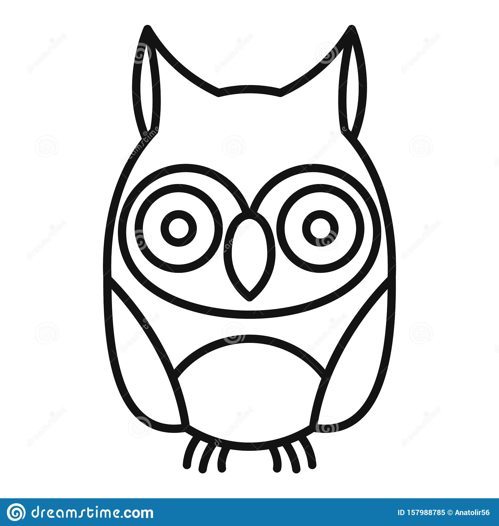 Adorable Owl Icon, Outline Style Stock Vector ...