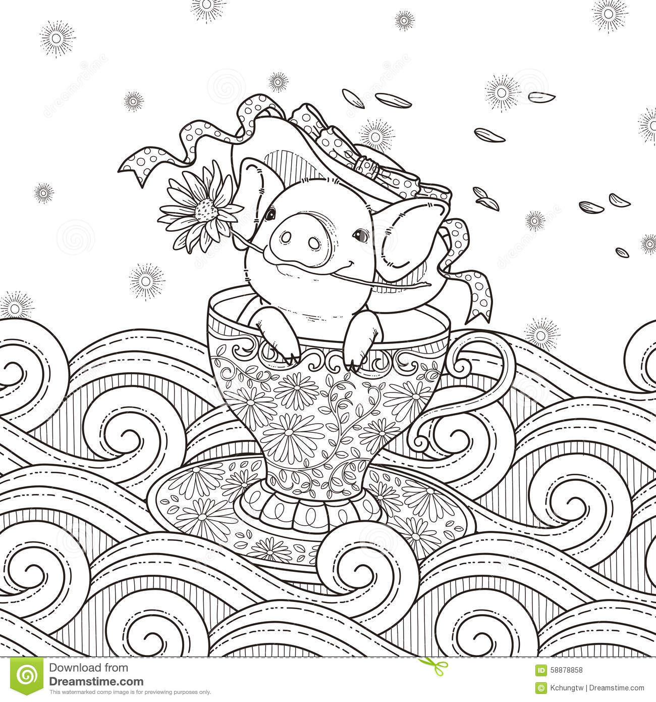 adorable piggy coloring page stock illustration image 58878858
