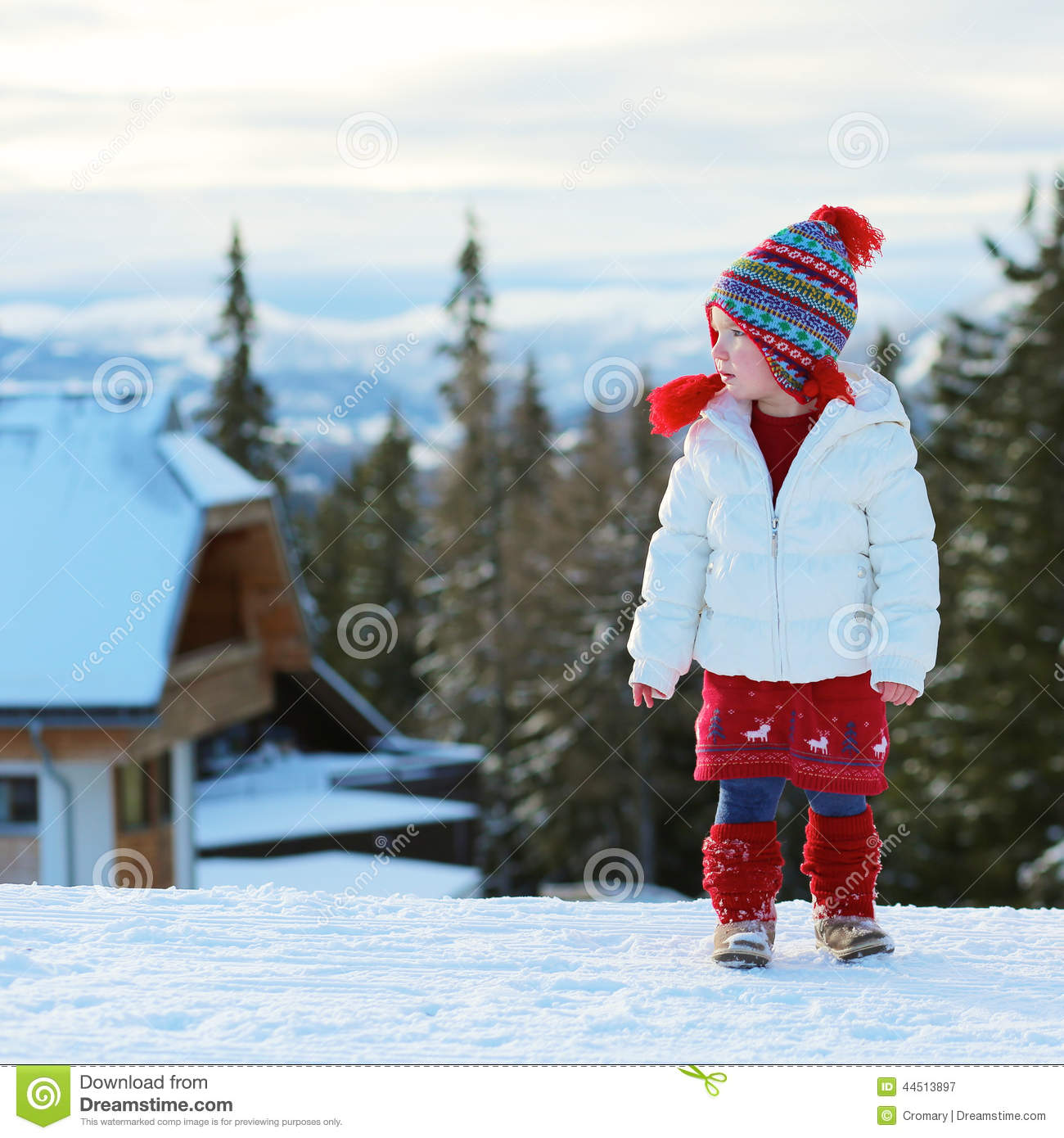 Adorable preschooler girl enjoys winter at ski resort for Warm winter family vacations