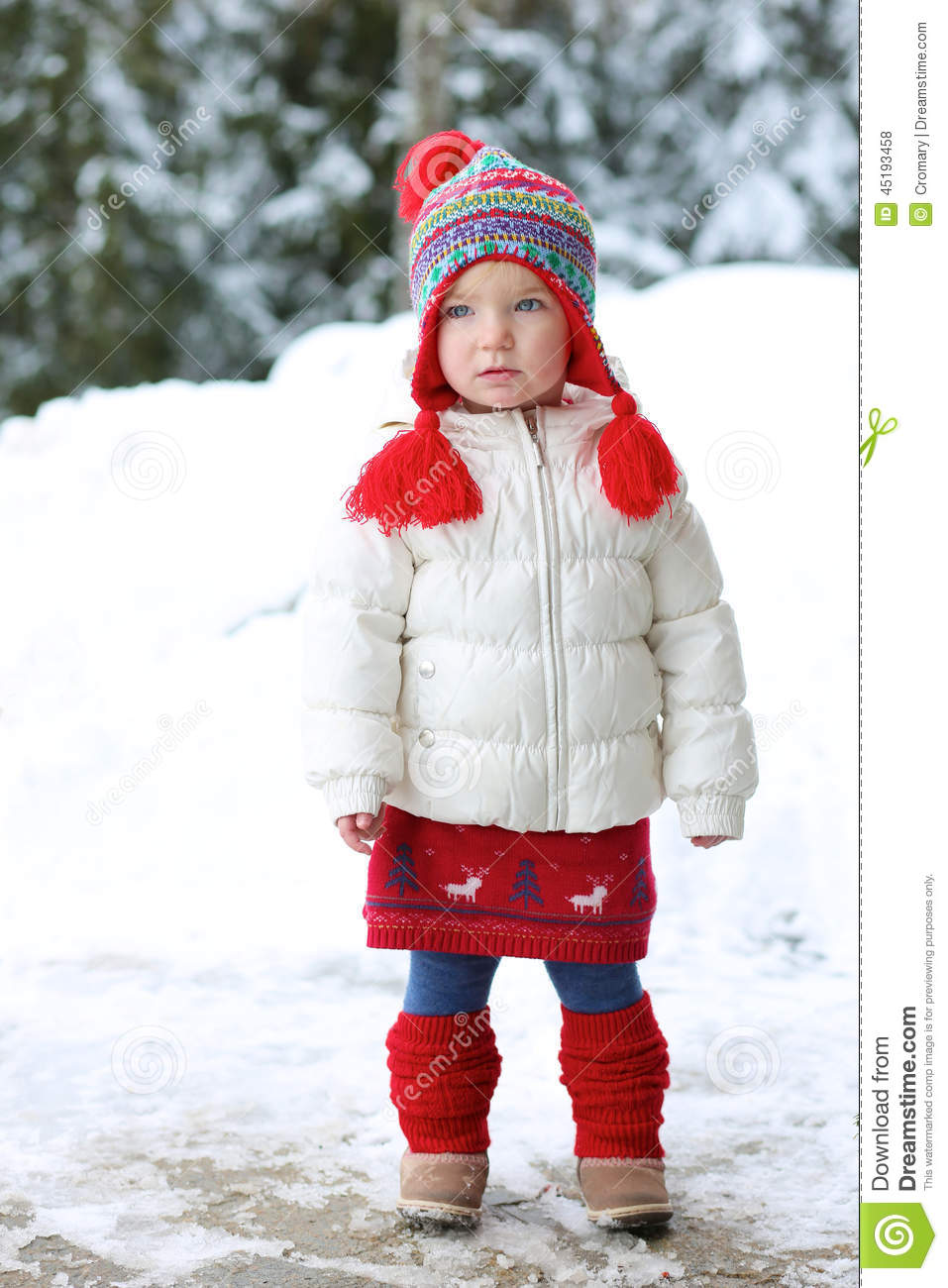 adorable preschooler girl enjoys winter at ski resort stock photo image of jacket cute 45193458. Black Bedroom Furniture Sets. Home Design Ideas