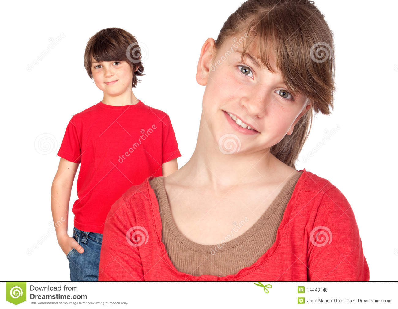 Royalty Free Stock Photos: Adorable preteen girl and little gir in red