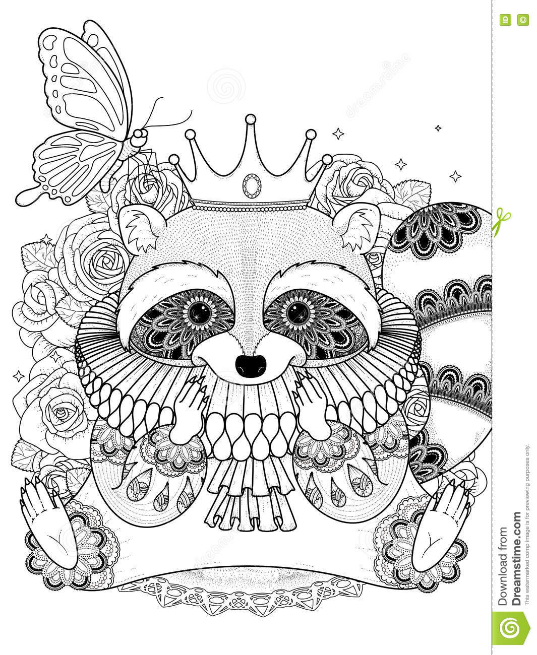 Adorable Raccoon Coloring Page Stock Vector Illustration Of