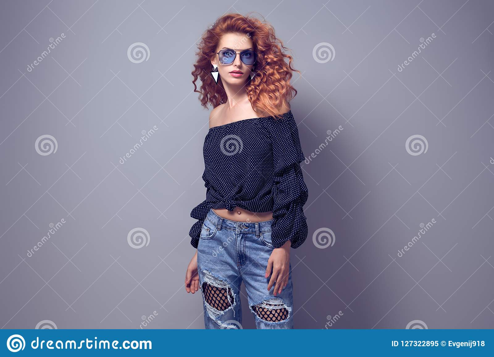 fcef3cef7243 Adorable Redhead Woman In Studio. Trendy Outfit Stock Image - Image ...