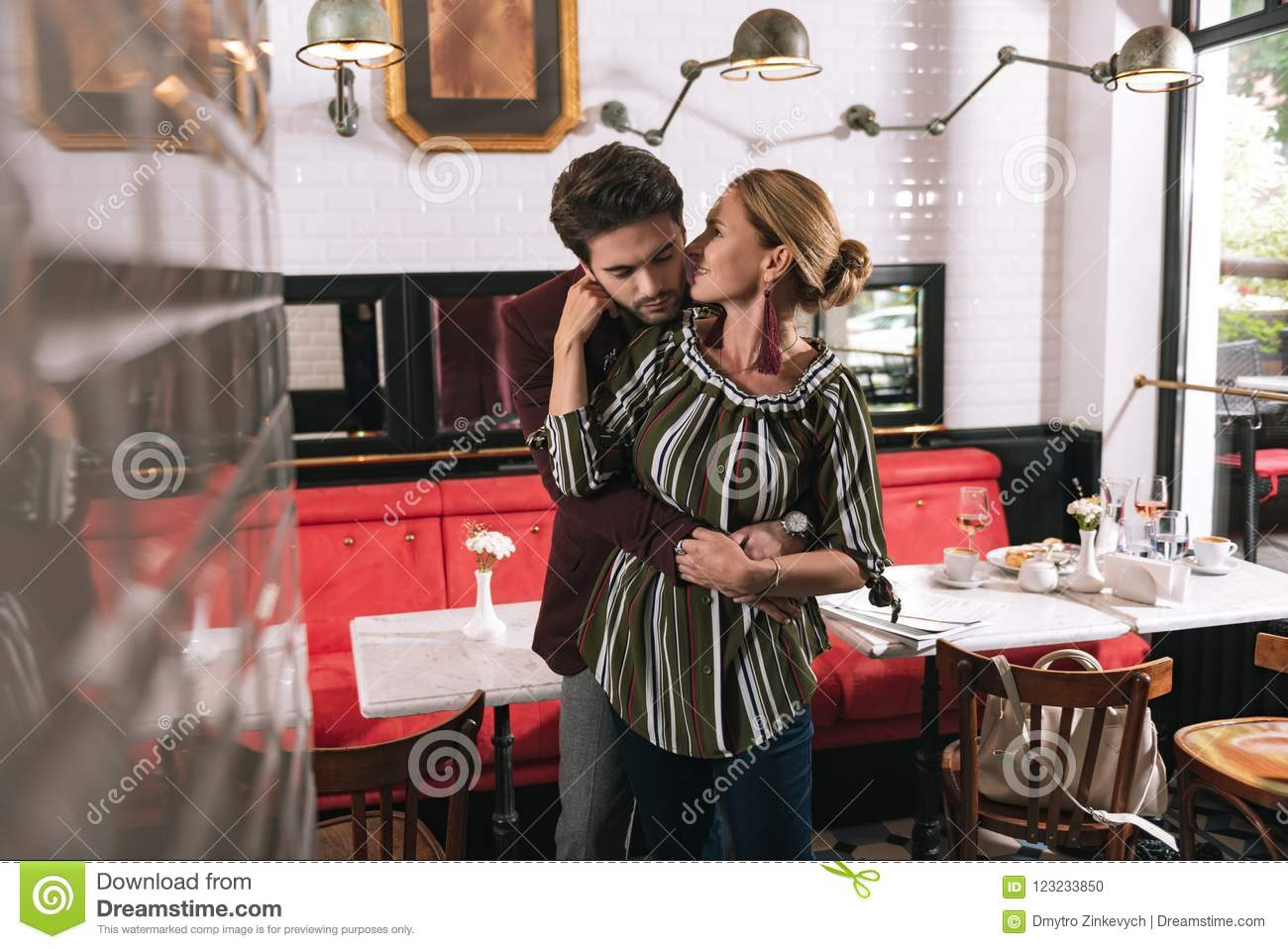 Adorable Sincere Couple Circling Stock Photo - Image of