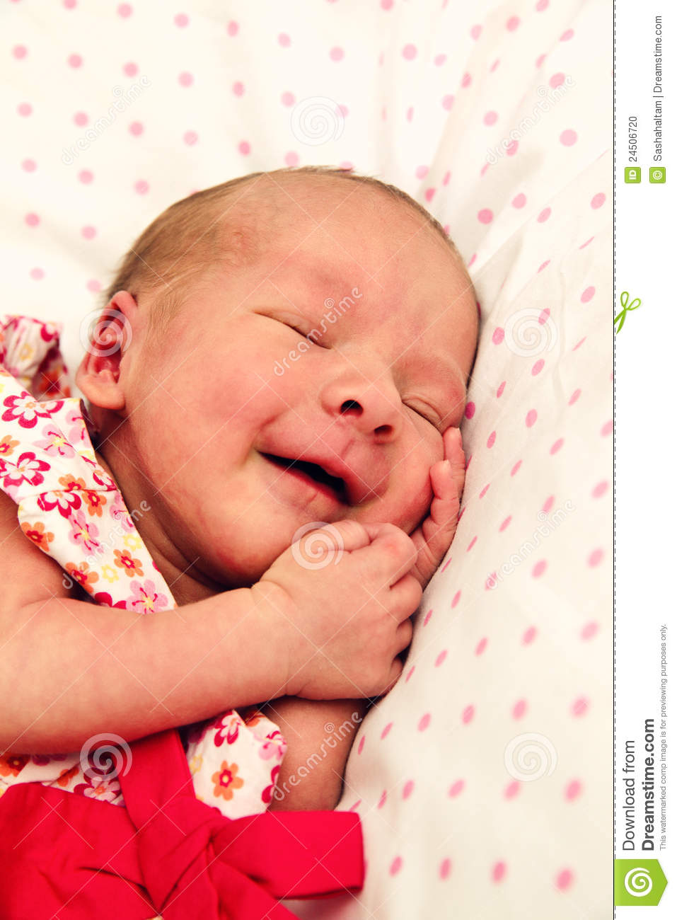 Adorable Sleeping Newborn Baby Girl Stock Photo - Image ...