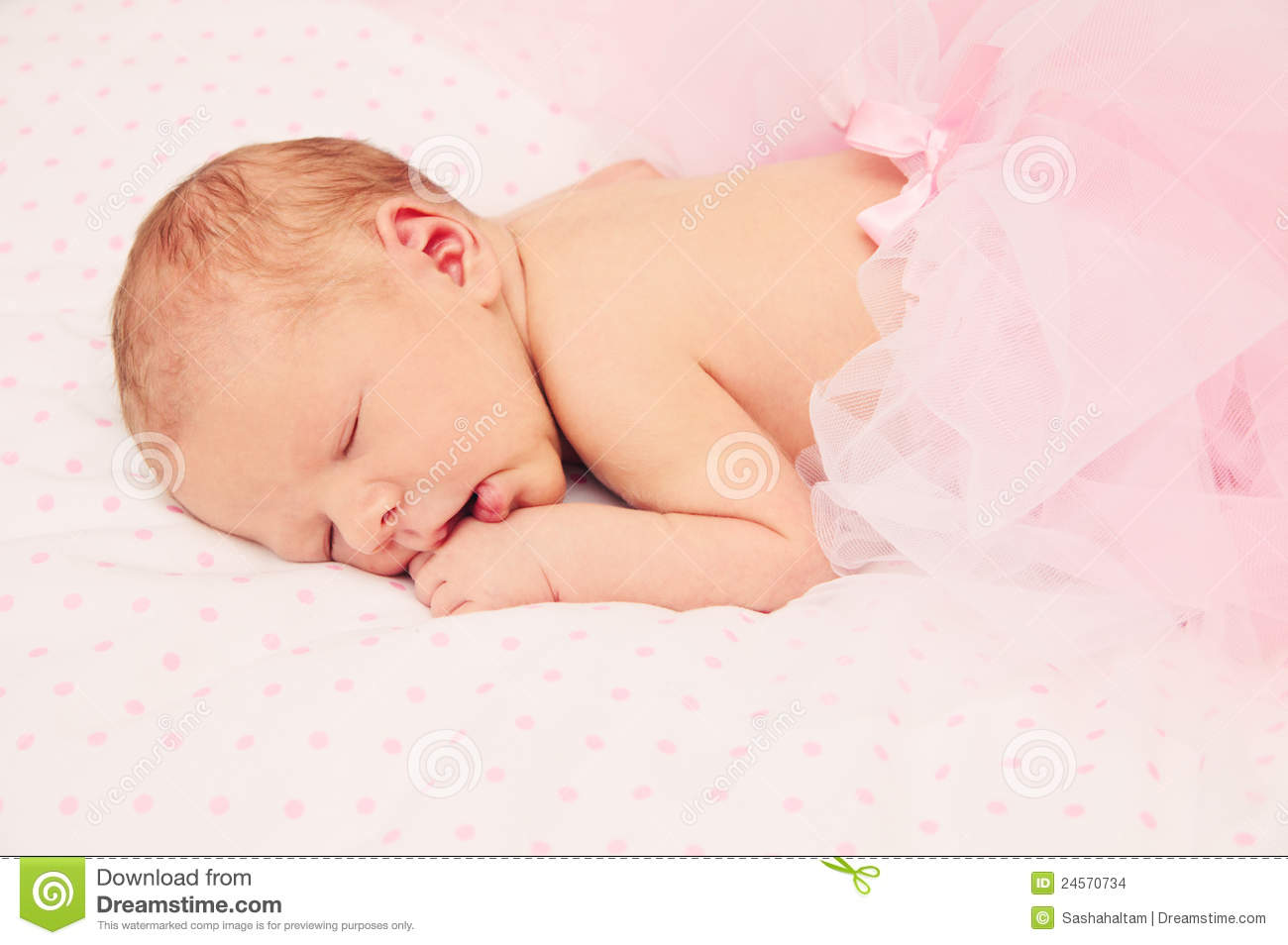 Adorable Sleeping Newborn Baby Girl Stock Images - Image ...