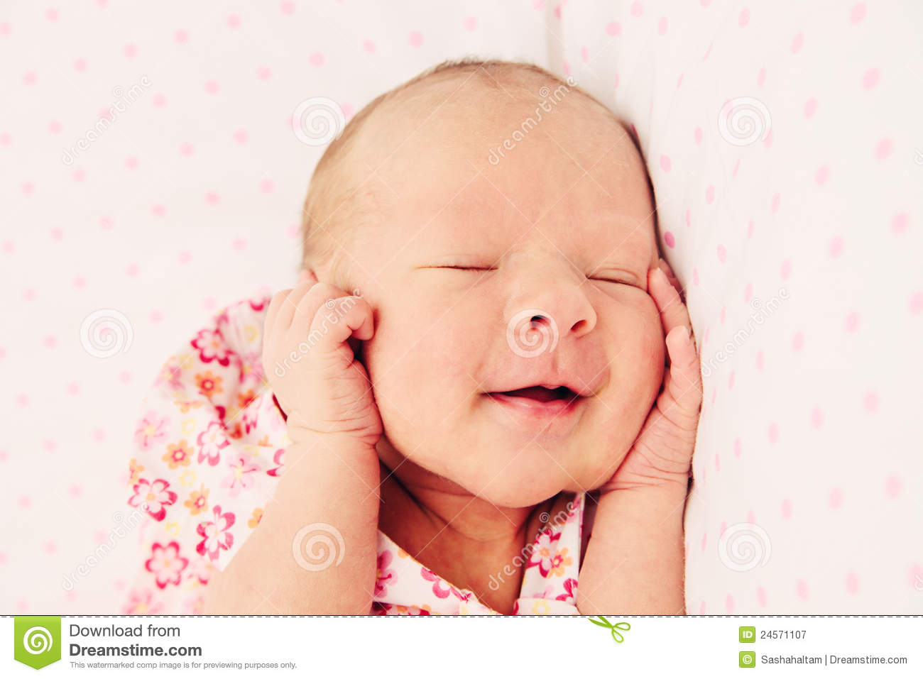 Adorable Sleeping Newborn Baby Girl Royalty Free Stock ...