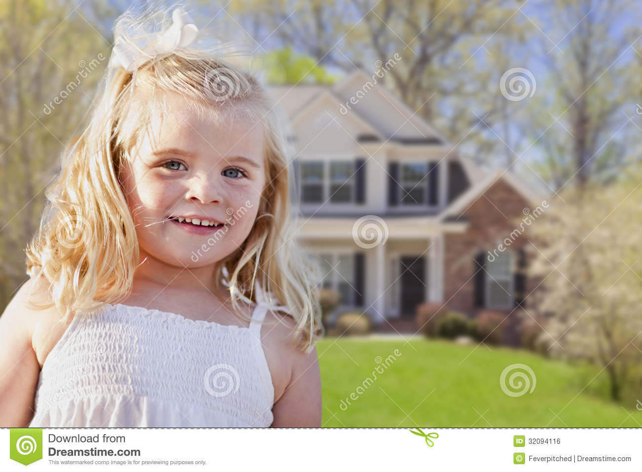 Adorable Smiling Girl Playing in Front Yard