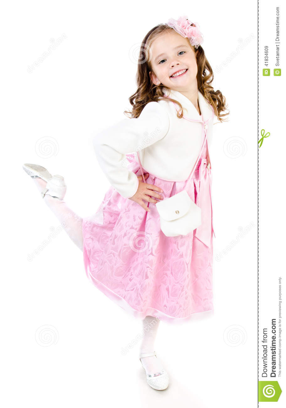 Adorable Smiling Little Girl In Pink Princess Dress Stock