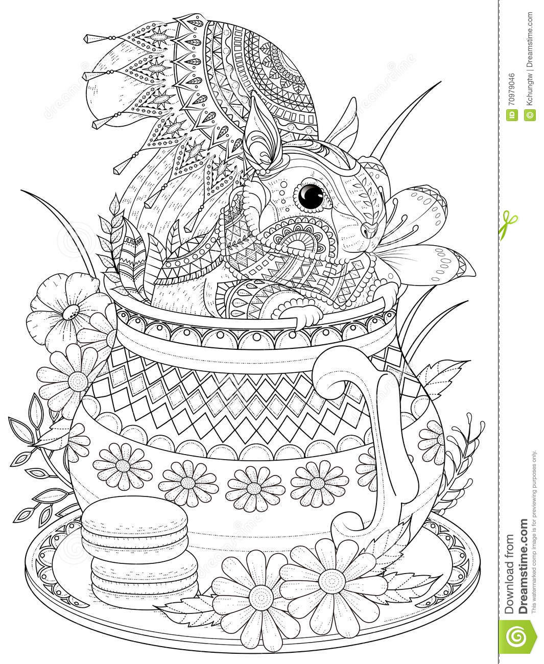 Adorable Squirrel Adult Coloring Page Stock Illustration ...