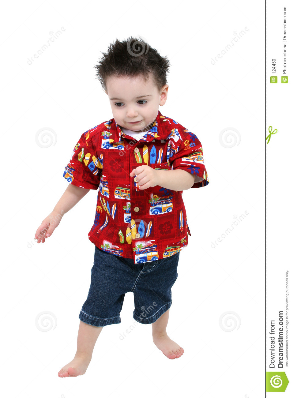 adorable toddler boy in bright summer clothes barefoot