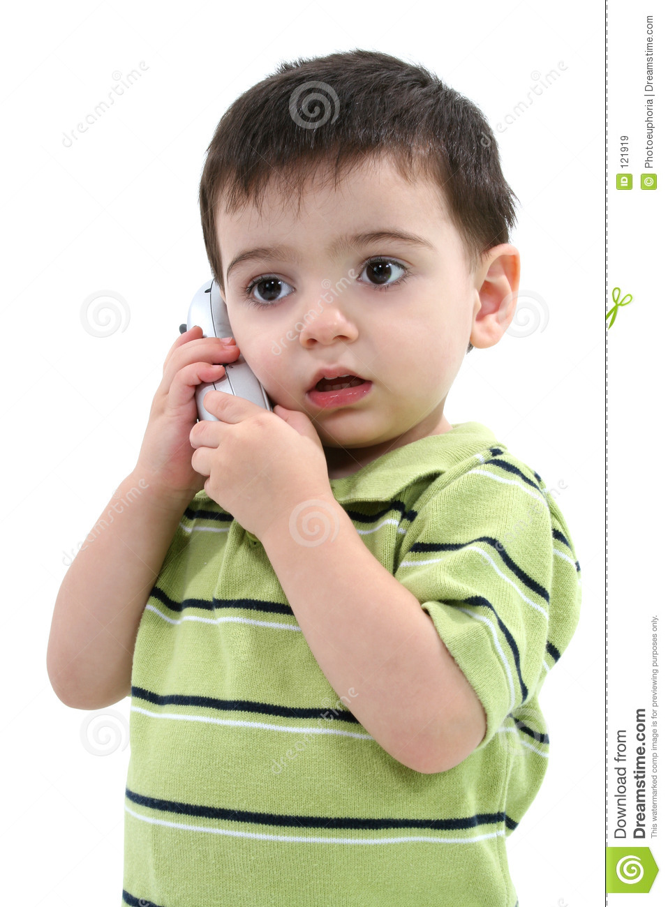 Adorable Toddler Boy Speaking On A Cordless Phone Over
