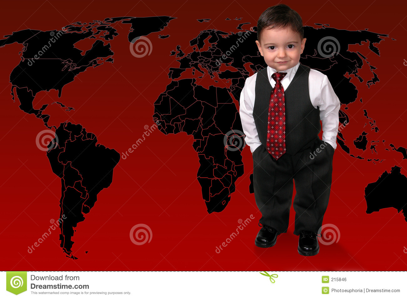 Adorable Toddler Boy In Suit Standing On The World