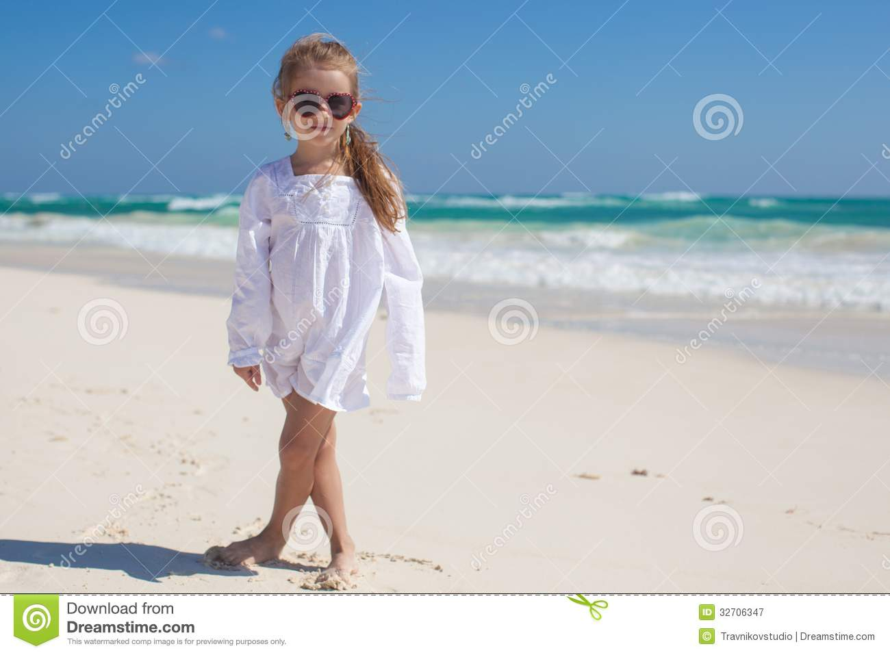 Toddler Girl In White Dress At Beach Stock Photography - Image ...