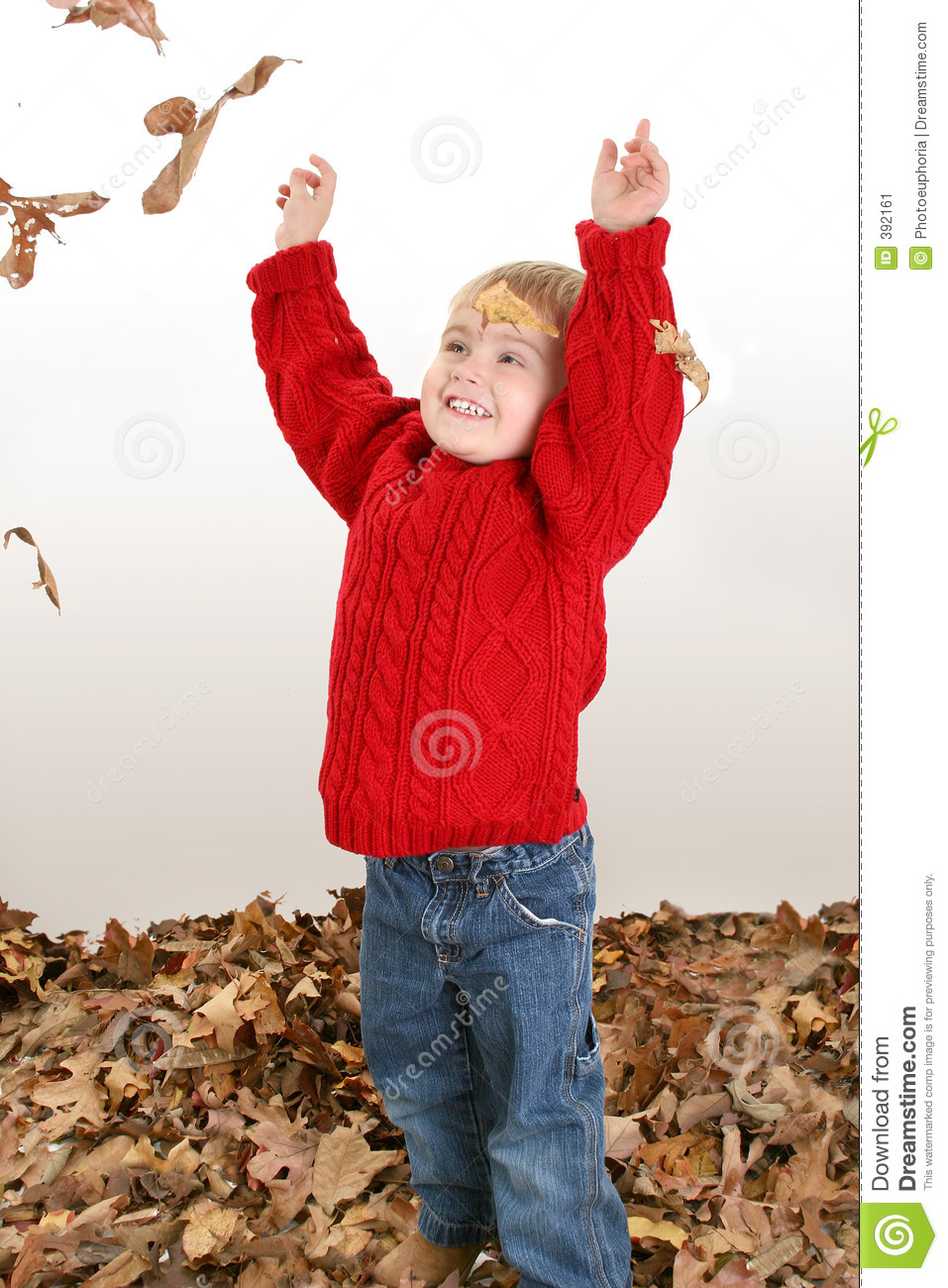 Adorable Two Year Old Playing In Leaves