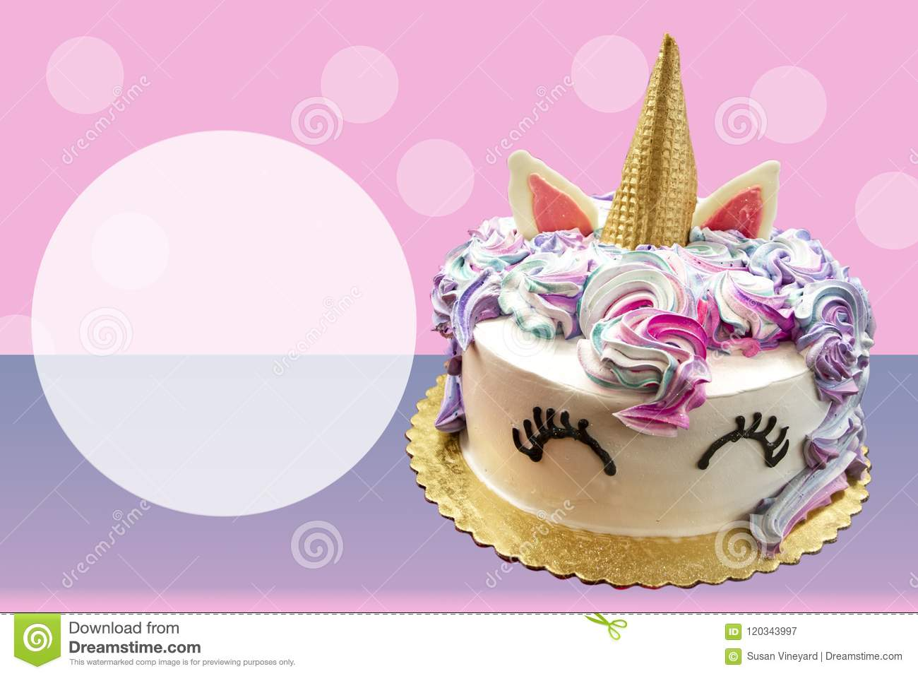 Adorable Unicorn Cake With Ice Cream Cone Horn On Pink And Purple Poka Dotted Background