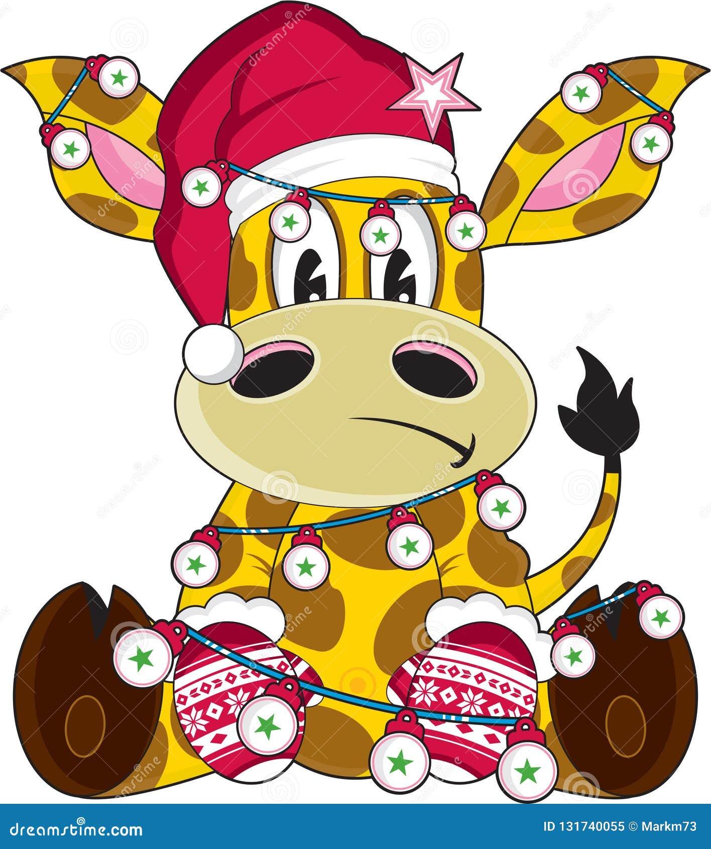 Cartoon Santa Claus Christmas Giraffe Stock Vector