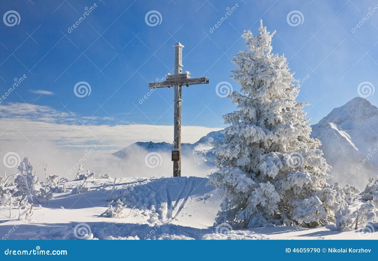 Adorez la croix sur la montagne Schladming l autriche