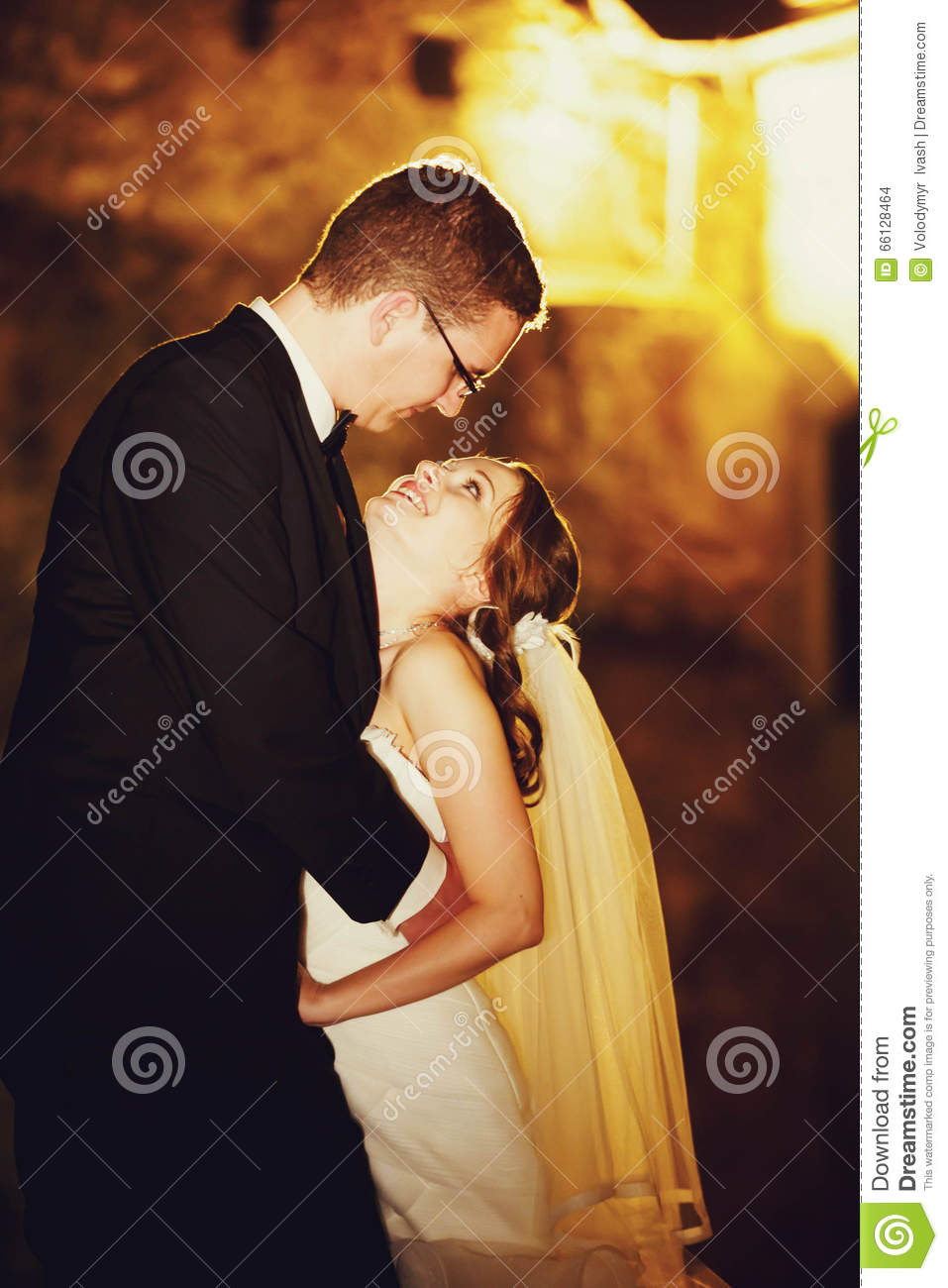 Adorning Elegant Fashion Groom And Bride Is Hugging On The