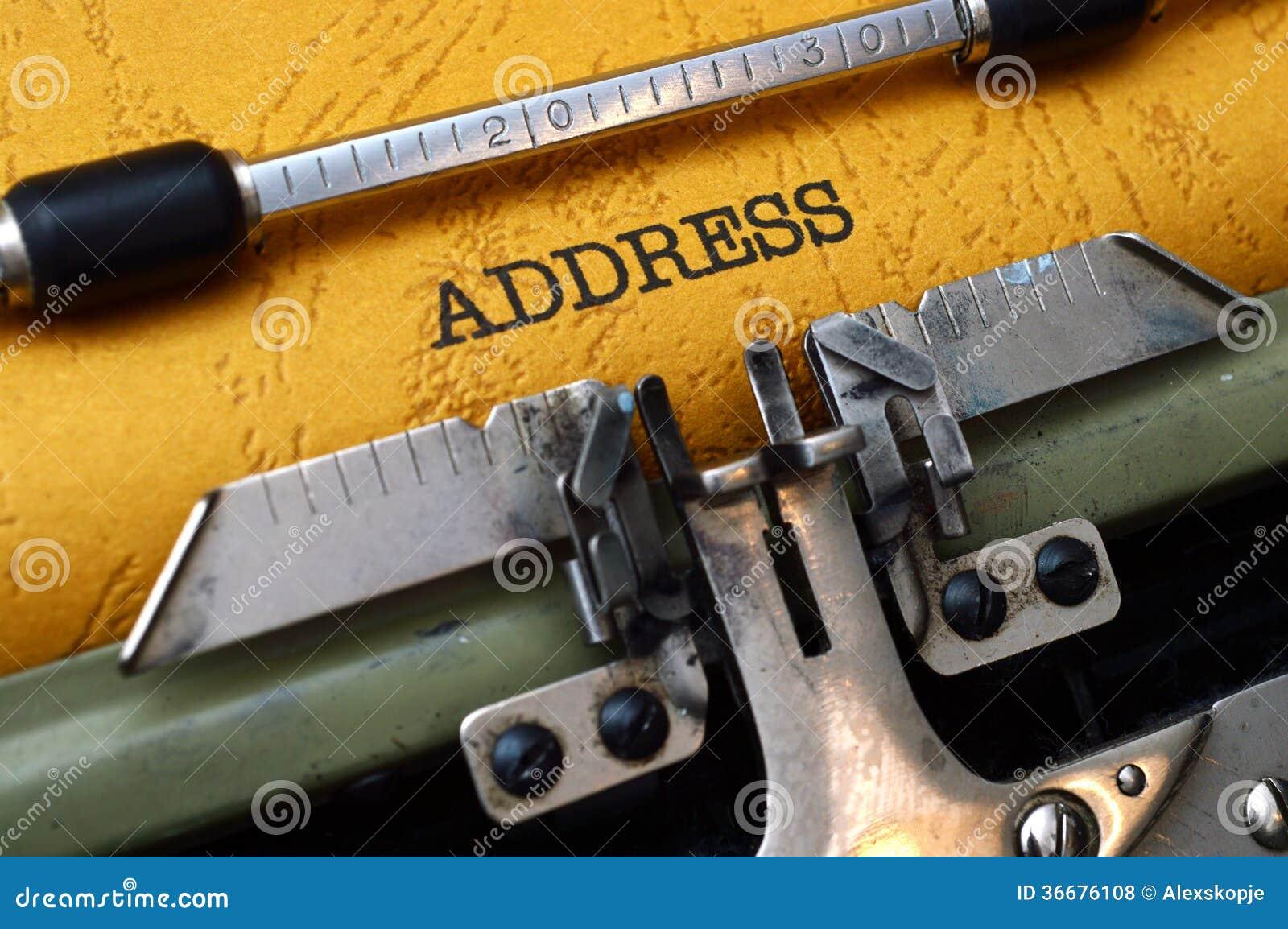 Adres op schrijfmachine