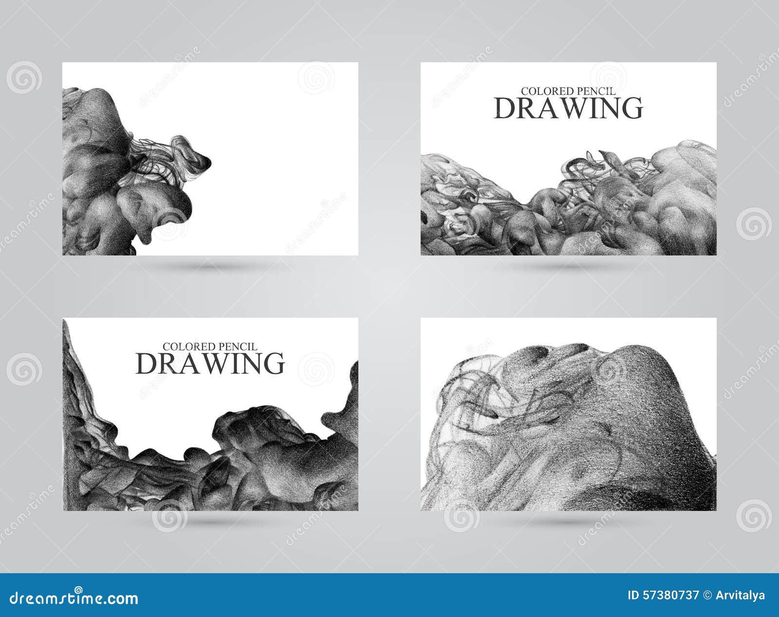 Adreskaartjes met abstracte die wolk van inkt met de hand met col. wordt getrokken