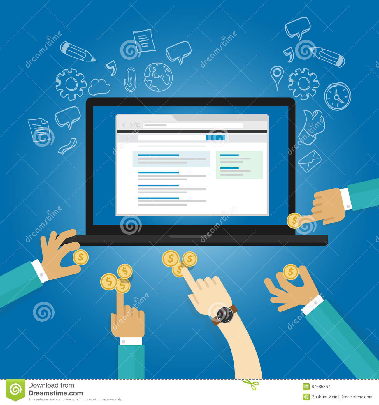 Ads bidding online advertising pay realtime per click view payment contribution donation