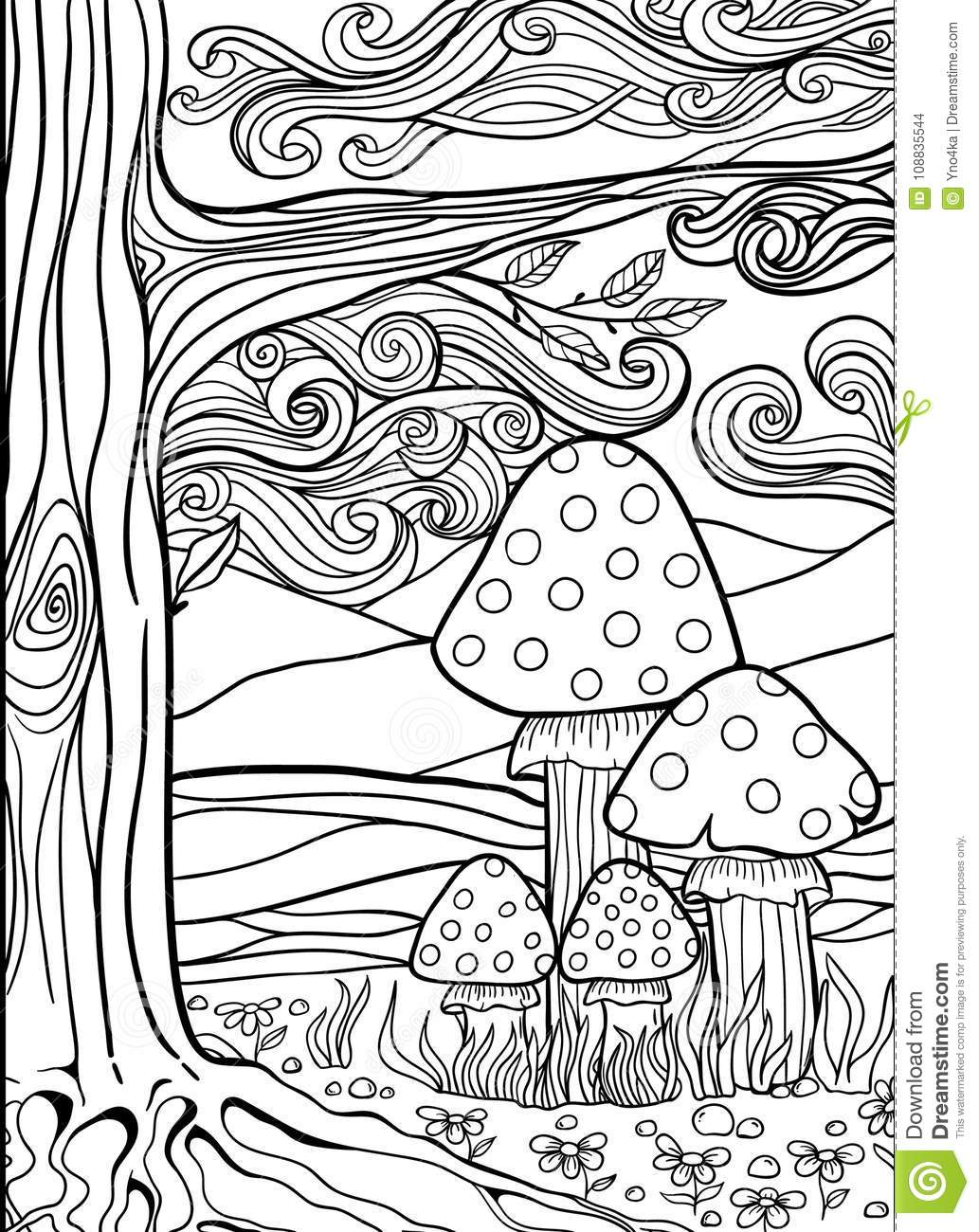 Adult Anti Stress Coloring Page Doodle Stock Illustration ...