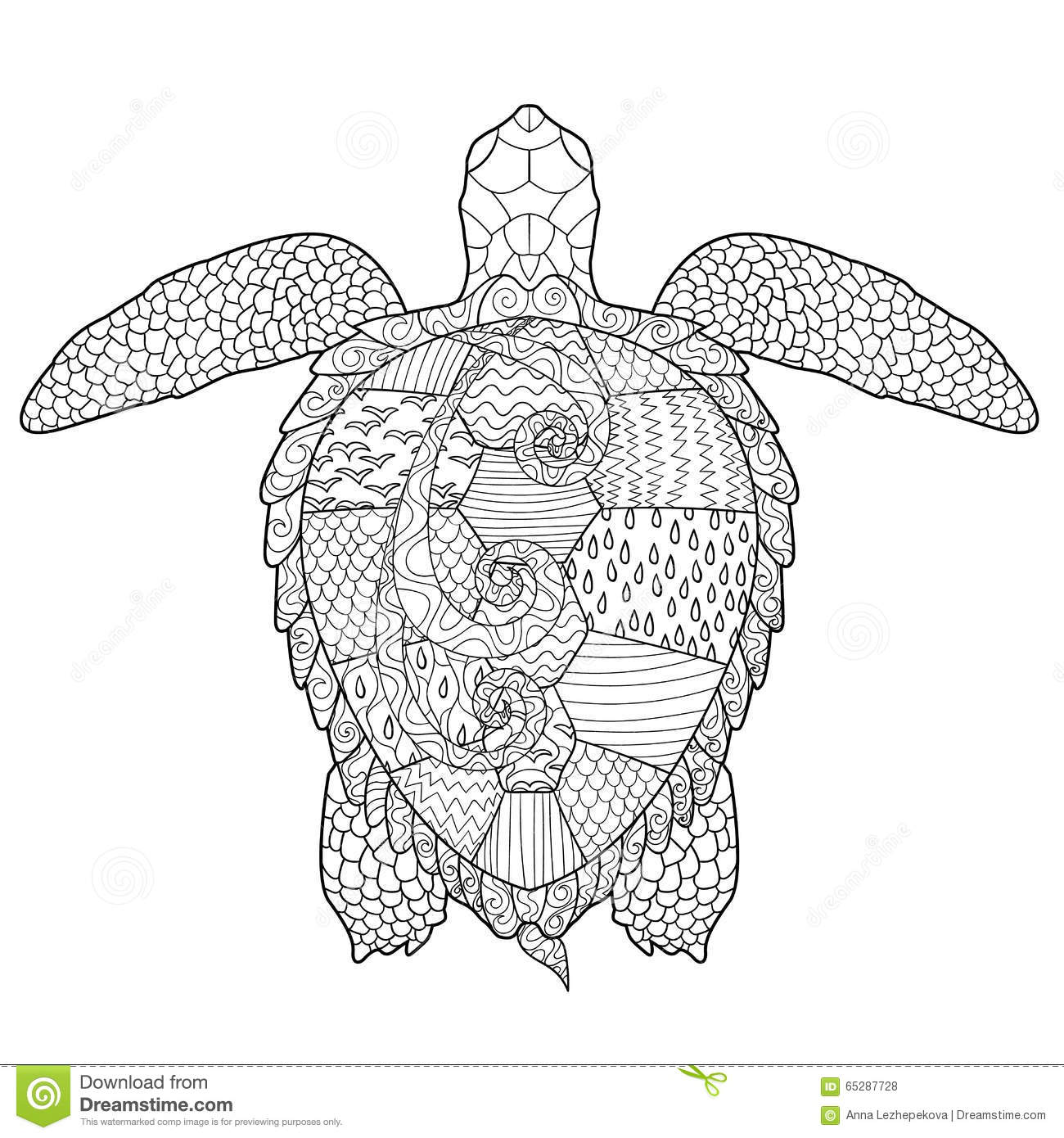 Adult Antistress Coloring Page With Turtle Stock Vector Image