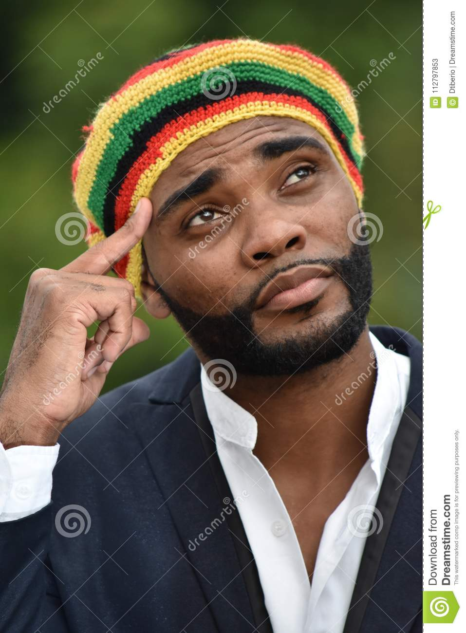 Adult Black Jamaican Man Thinking Stock Image Image Of Jamaicans