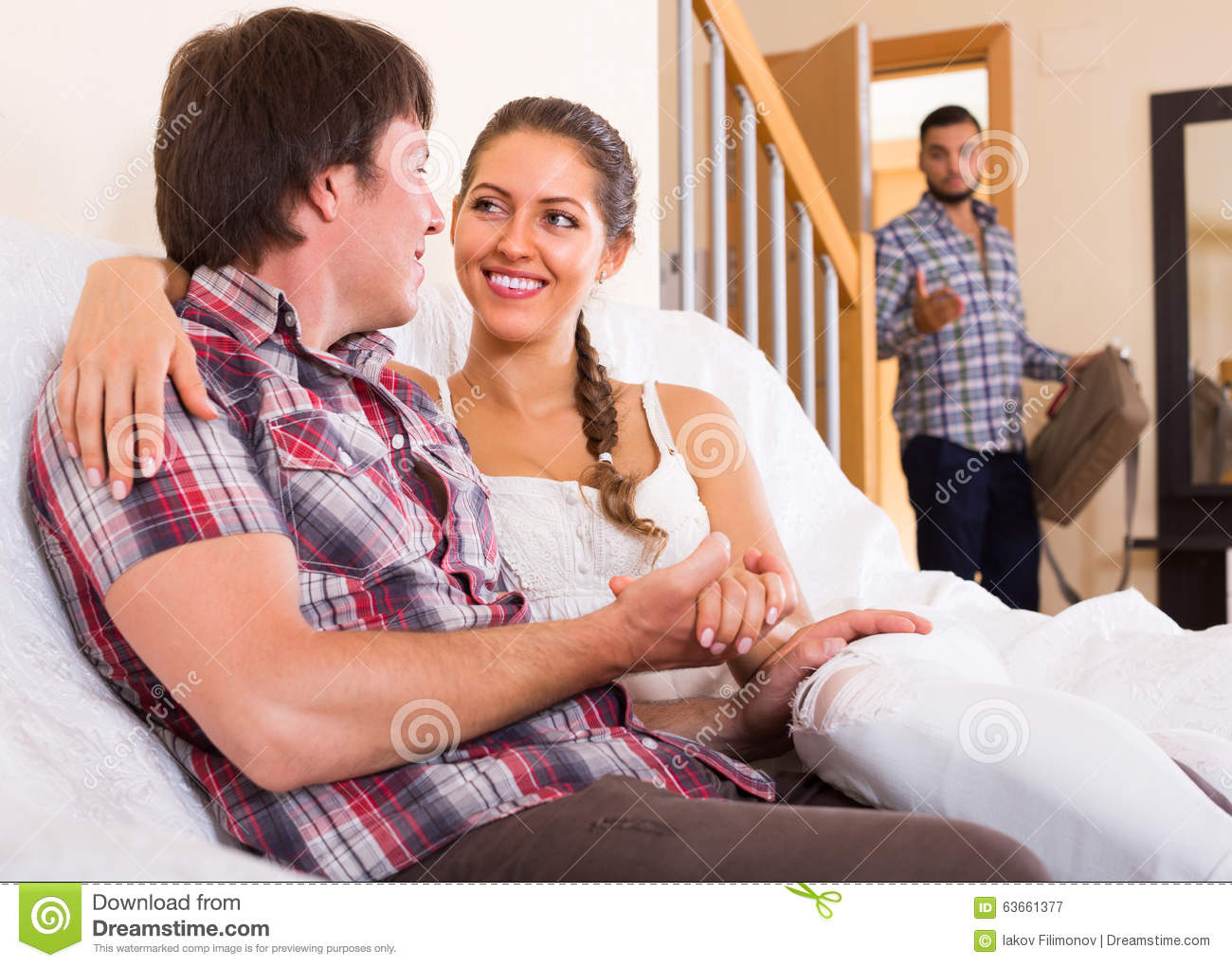 Download Adult And Cheating Partner At Home Stock Image Image Of Domestic Male