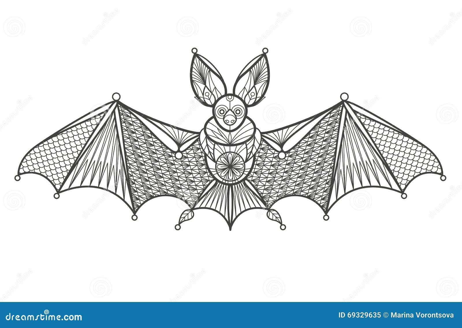 Adult Coloring Bat Stock Vector Image 69329635
