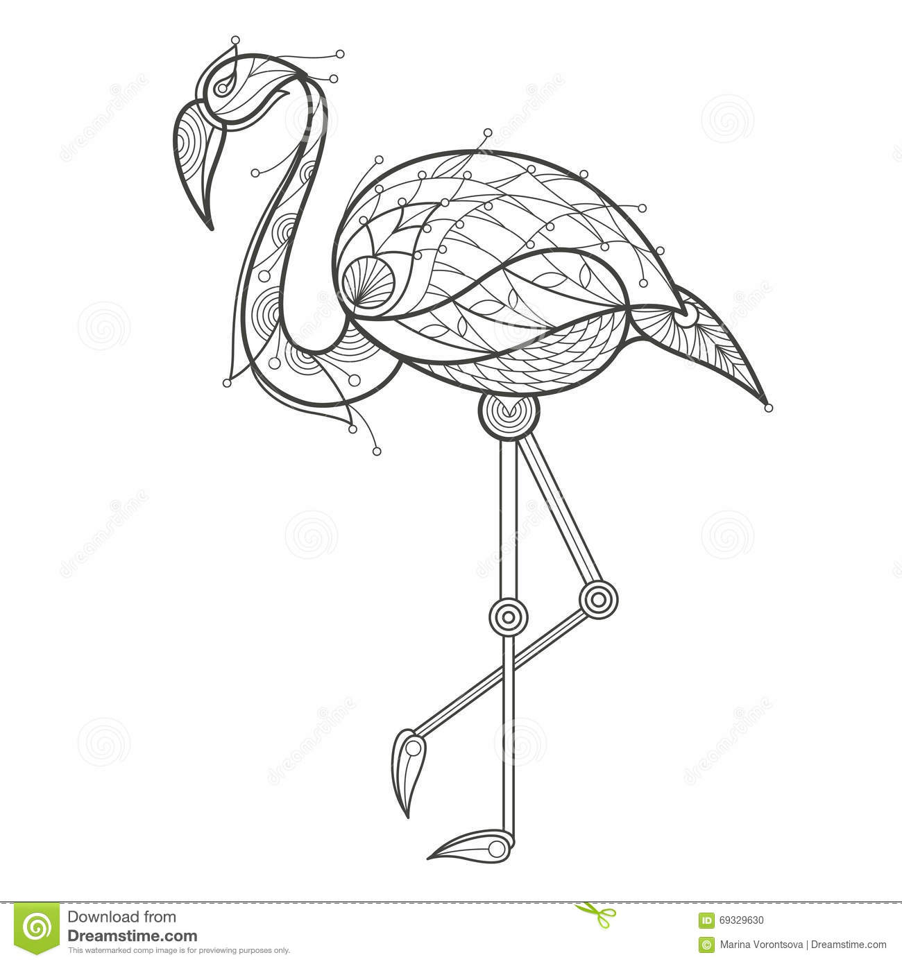 Coloring sheets for adults flamingo - Royalty Free Vector Download Adult Coloring Bird Flamingo