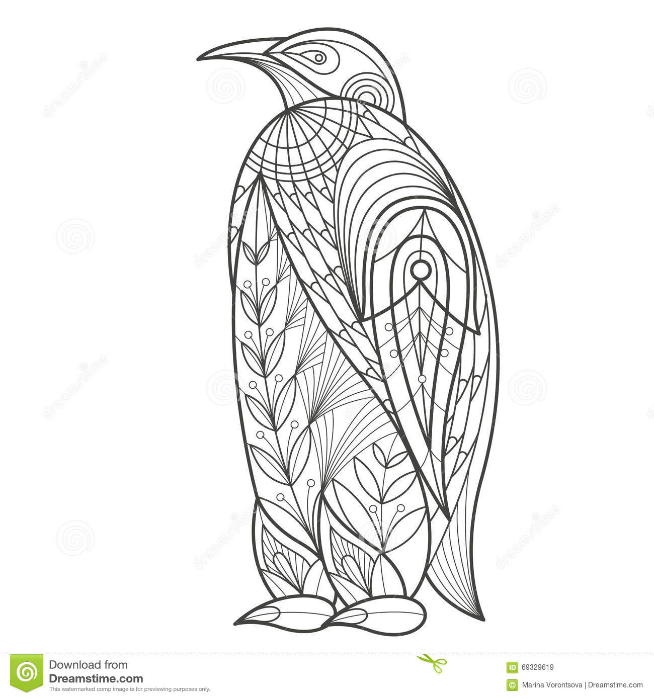 Adult coloring bird penguin stock vector image 69329619 for Penguin adult coloring pages