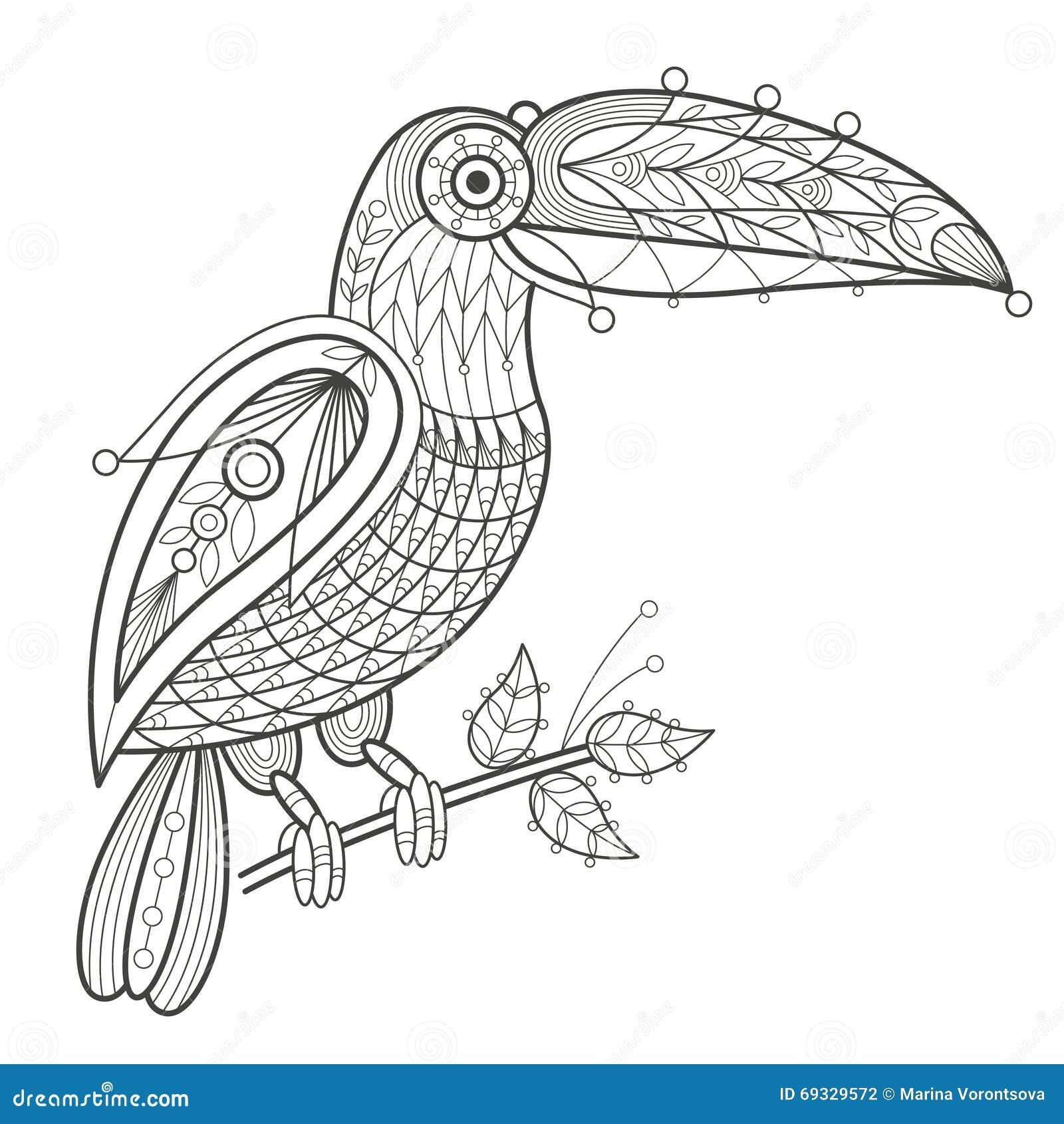Vector illustration decorative toucan on white background. Fashion ...