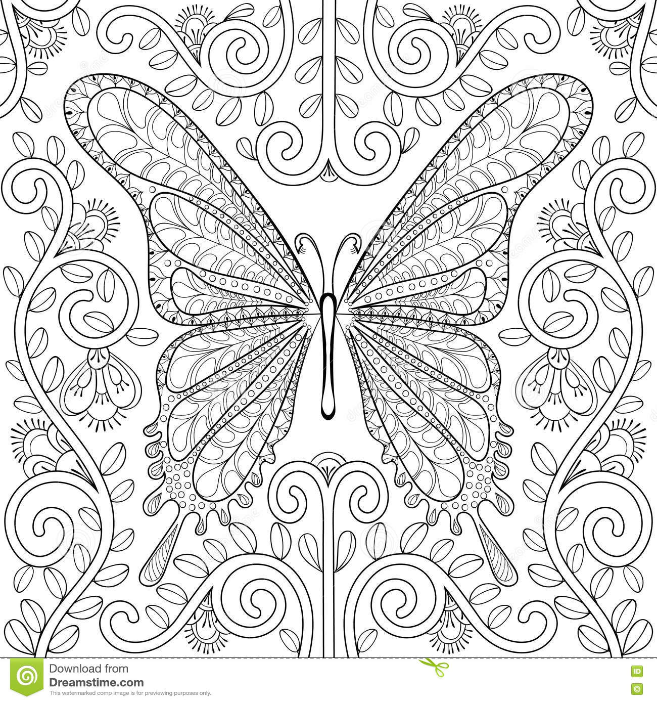 Adult Coloring Book With Butterfly In Flowers Pages ...