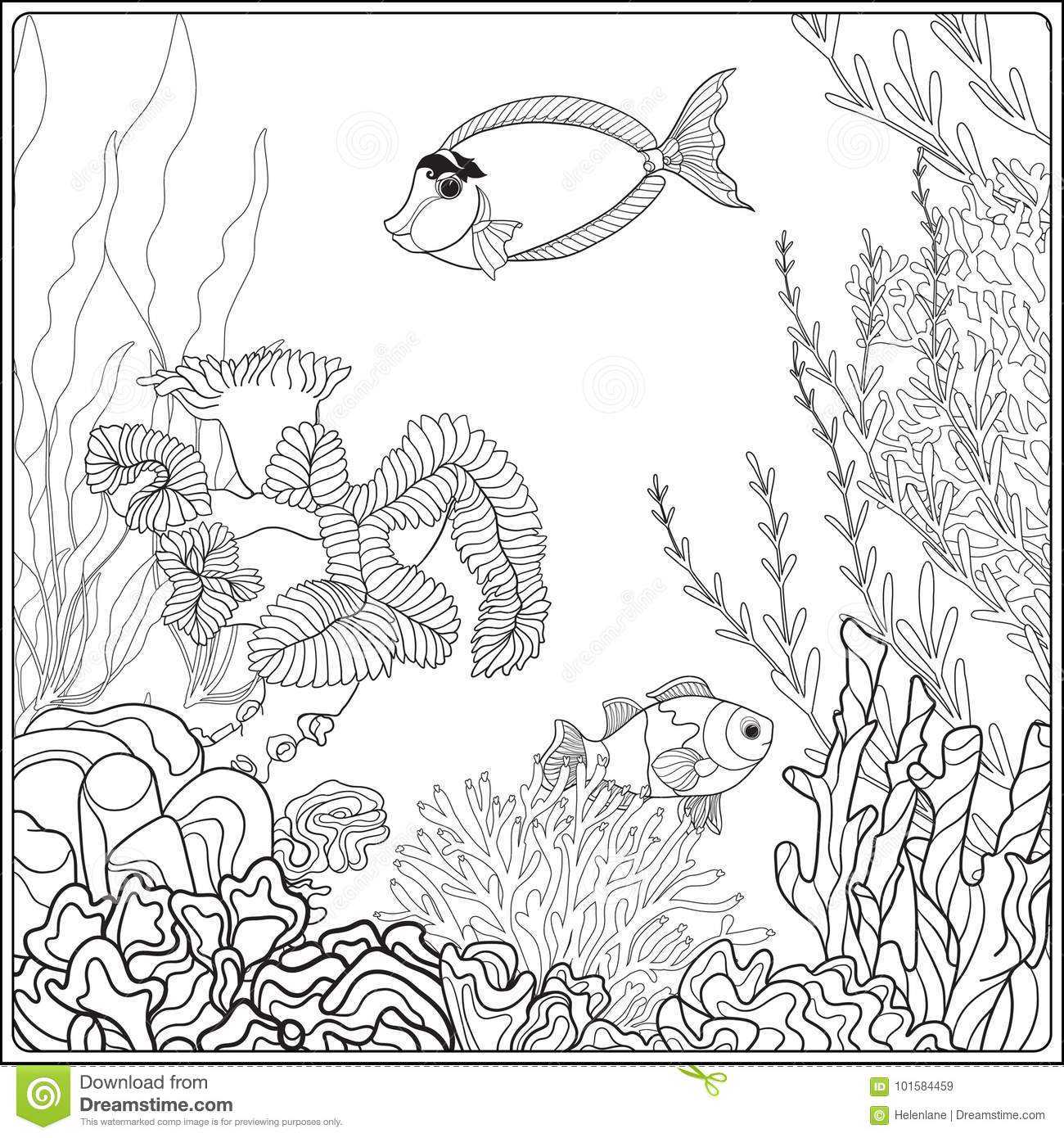 Coloring Page With Underwater World Coral Reef. Corals, Fish And ...