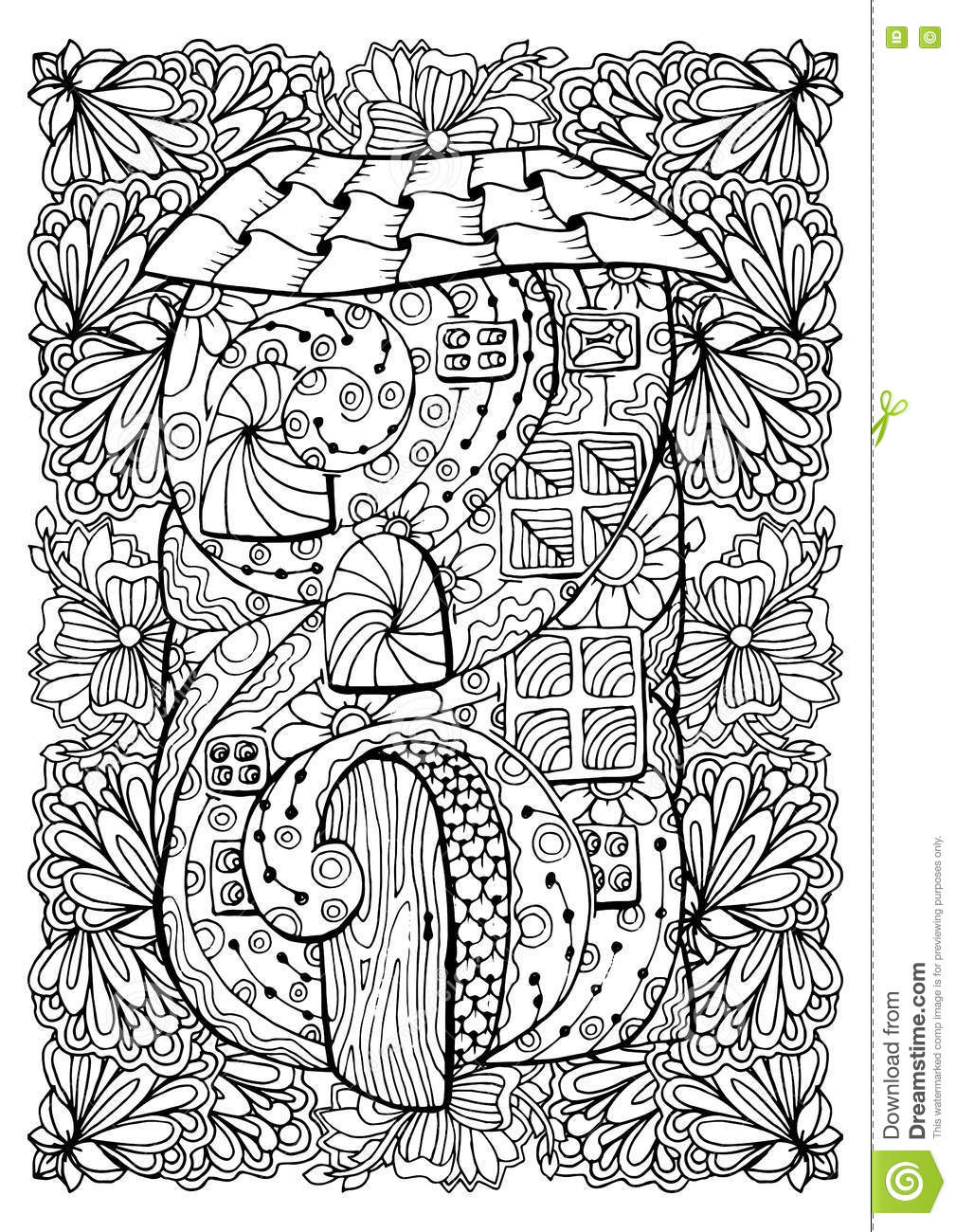 Adult Coloring Book Cover Design Mono Color Black Ink Illustration Vector Art Fairy House With Open Door