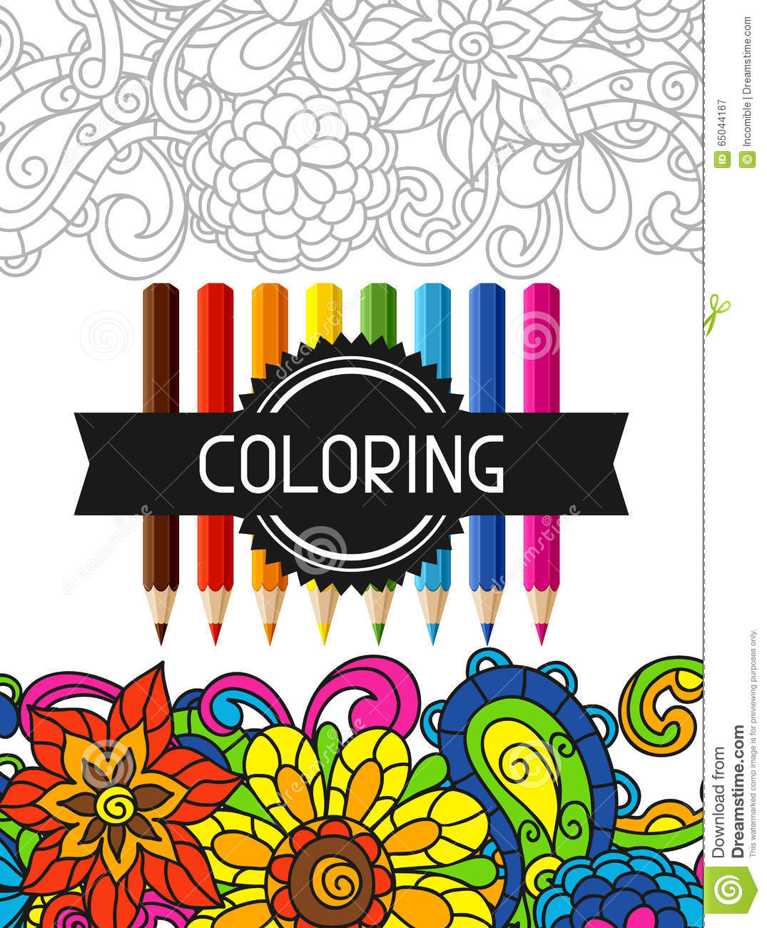 Download Adult Coloring Book Design For Cover Illustration Stock Vector