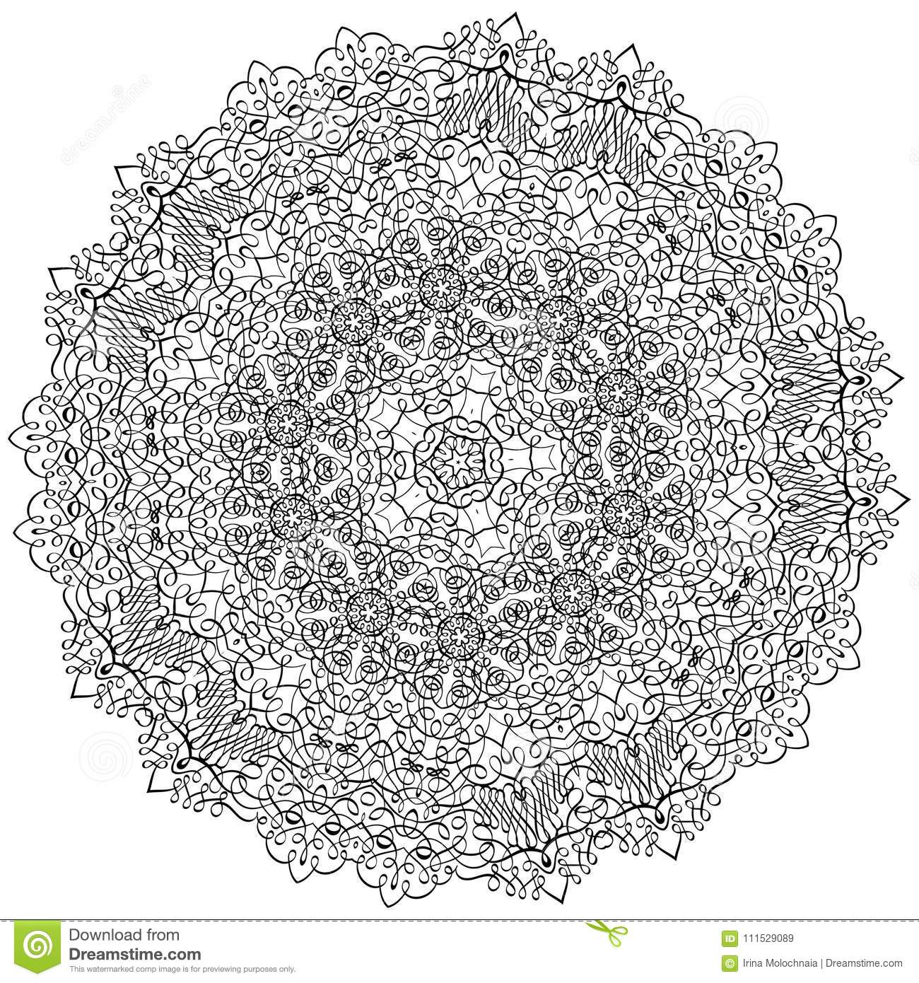 Adult Coloring Book Illustrationlacy Mandala Pattern With