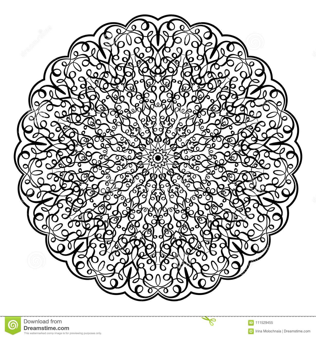 Download Adult Coloring Book IllustrationLacy Mandala Pattern With Calligraphic Swirls And Intricate Tangled Lacy Ornament