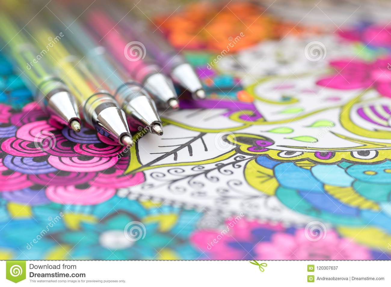 Adult coloring book, new stress relieving trend. Art therapy, mental health, creativity and mindfulness concept.