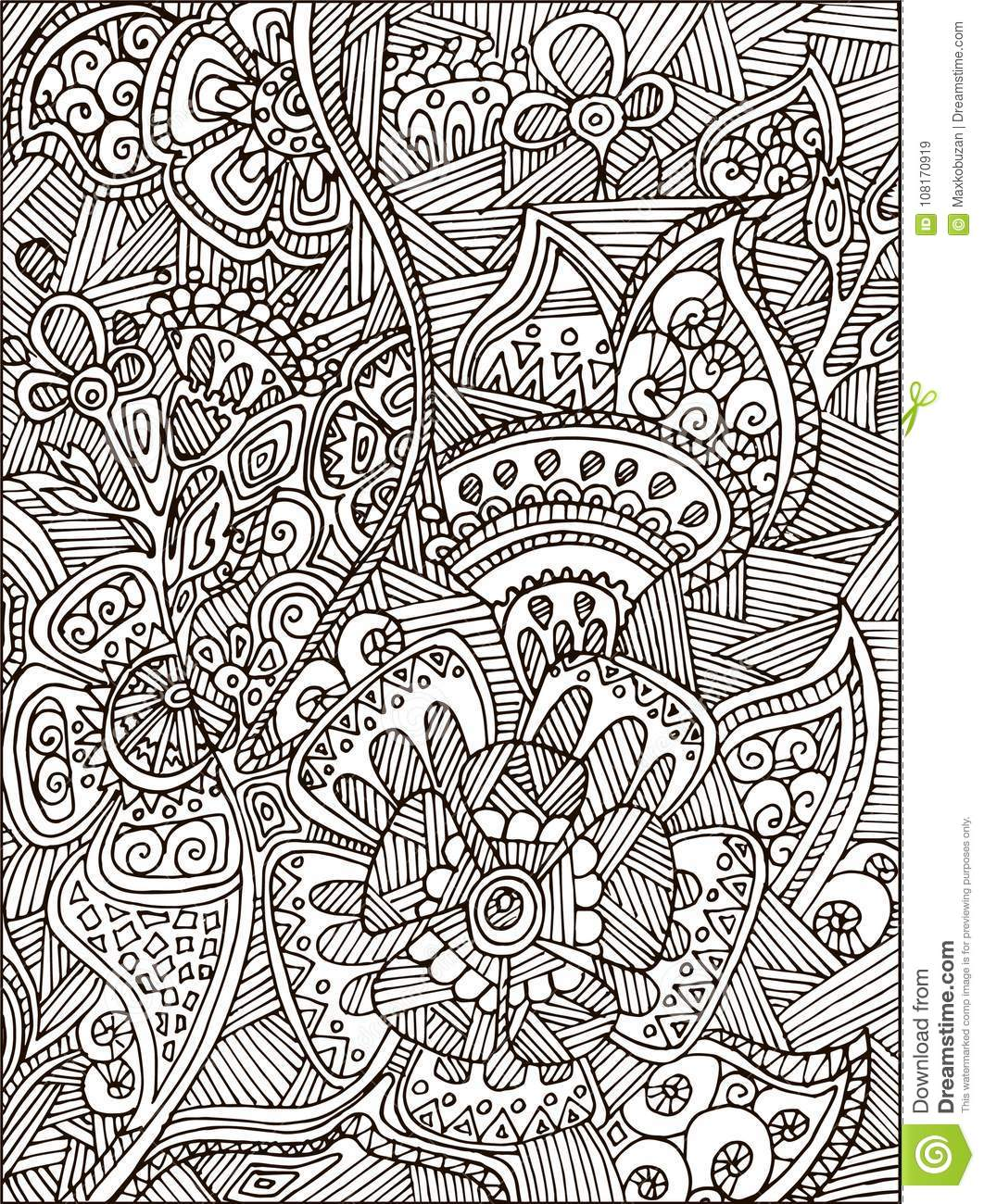 adult coloring book page adults kids black vector illustration template fantastic flowers black vector illustration