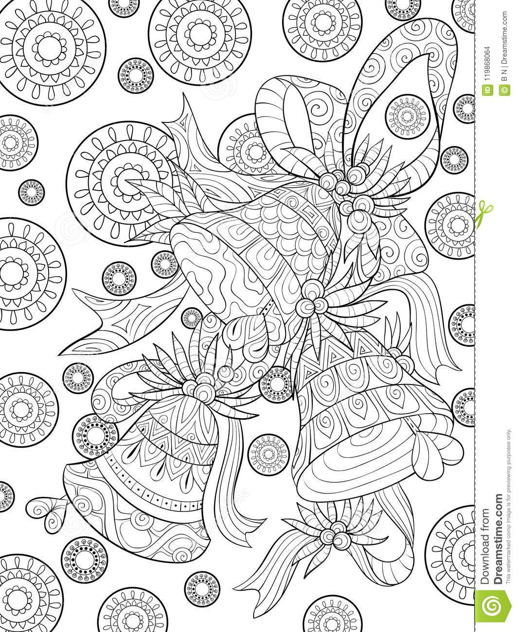 Download Adult Coloring Bookpage A Christmas Bells On The Background With Decoration Ornaments For