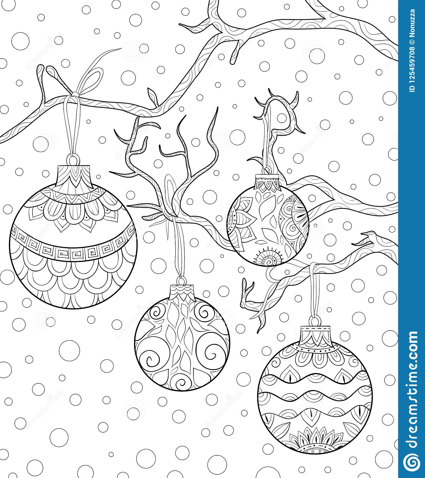 Adult Coloring Book Page A Christmas Decoration Balls On The Brunch