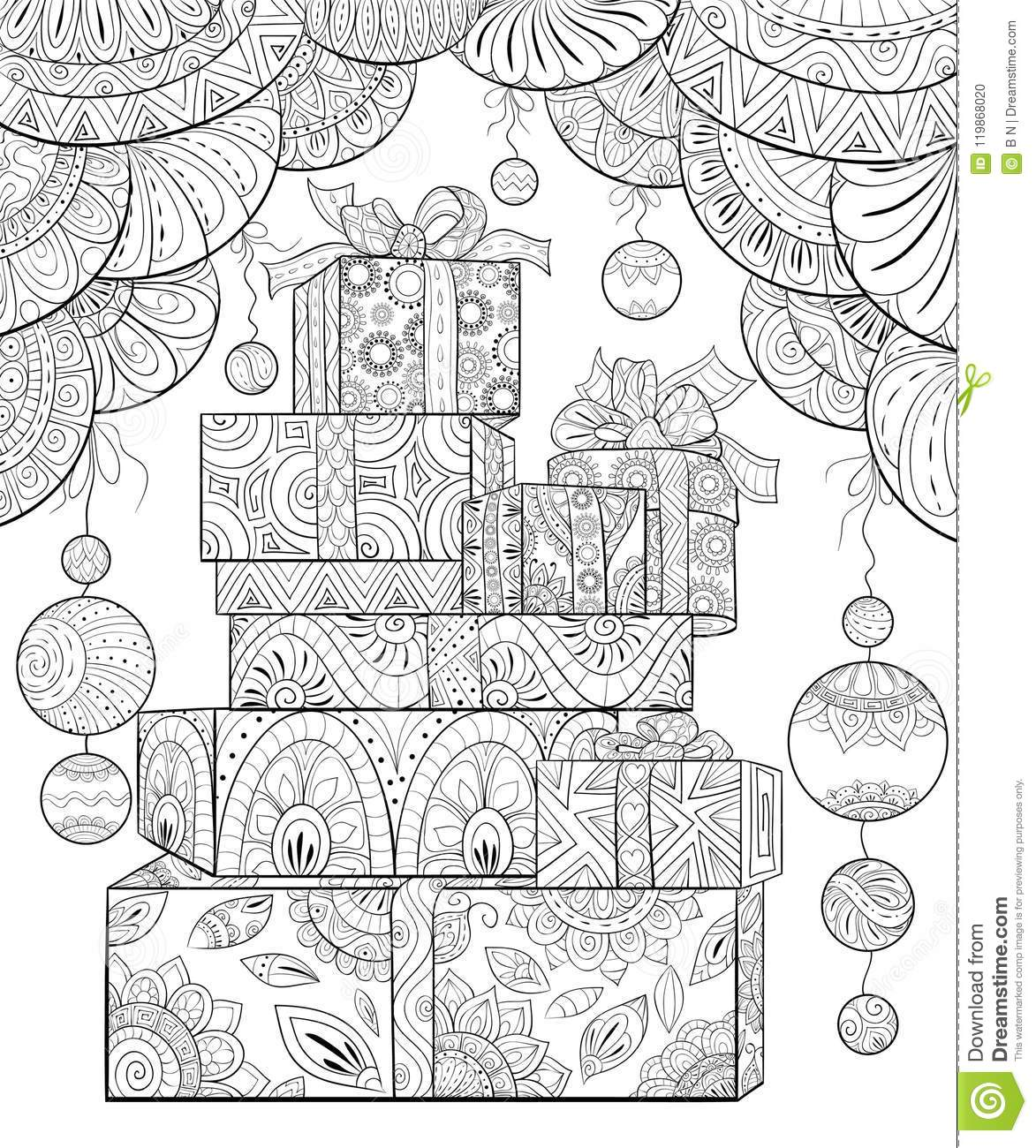 Adult Coloring Book,page A Christmas Gifts With Decoration Ornaments ...