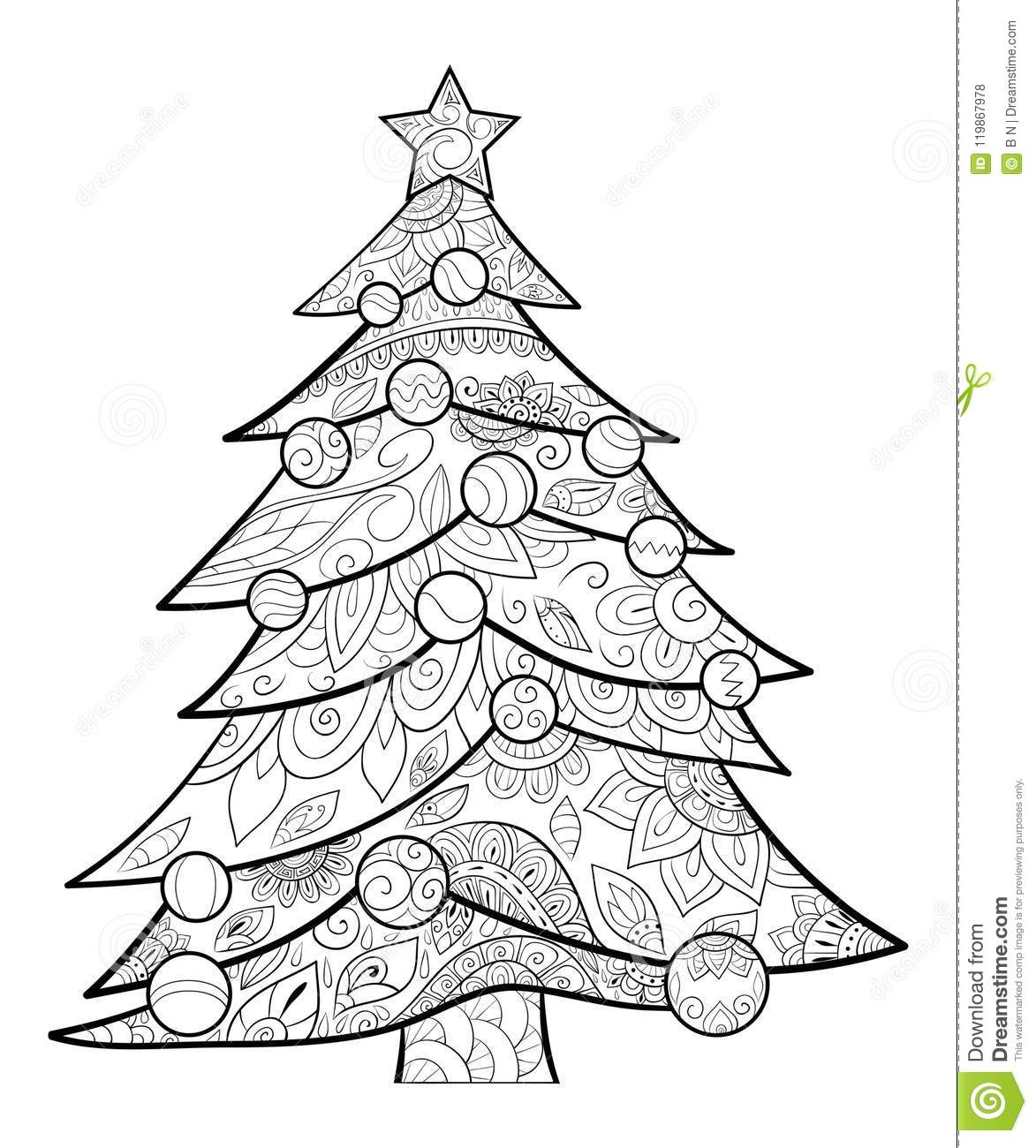 Adult Coloring Book Page A Christmas Tree With Decoration